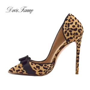 Wholesale leopard printed luxury fashion ladies high heel shoes for women sexy stiletto heels large size 42