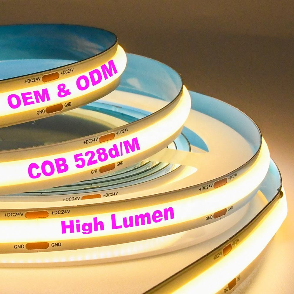 OEM ODM Manufacturer Cob Led Light With 528 / 224 / 348Leds Dc12V 24V Cri 5M Roll Decoration Flexible Strip Led Light