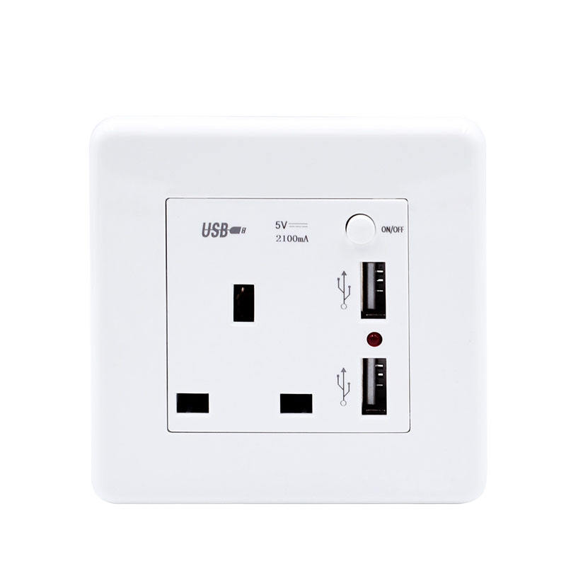86 Jenis Rumah Hotel Warna Putih Inggris 13A USB Charge Socket PC Bahan Guest House UK Jenis Socket 2 USB Dinding socket