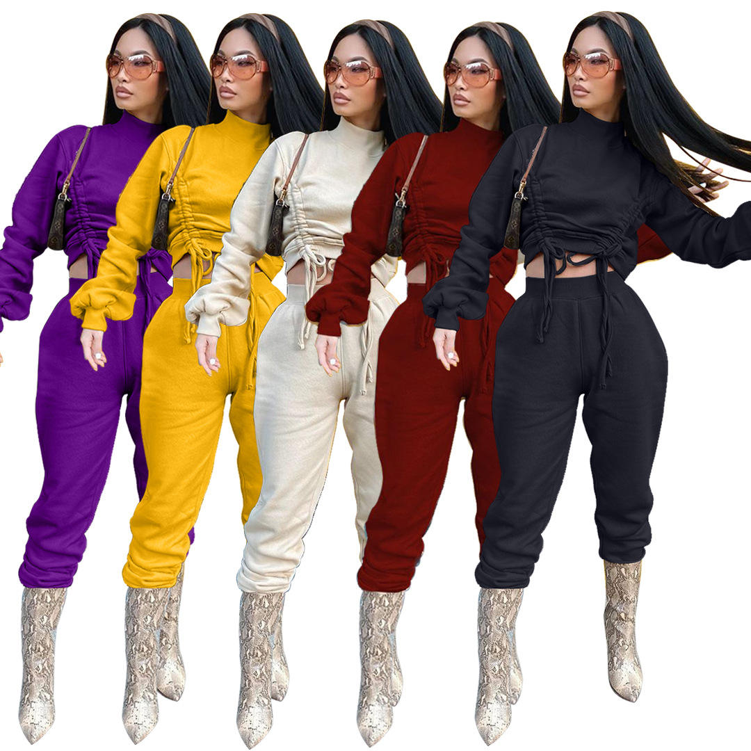 Womens Joggers 2 Piece Lace Up Crop Top Two Piece Pants Set Fall Winter Solid Tracksuit Set Women Sweatsuit Set