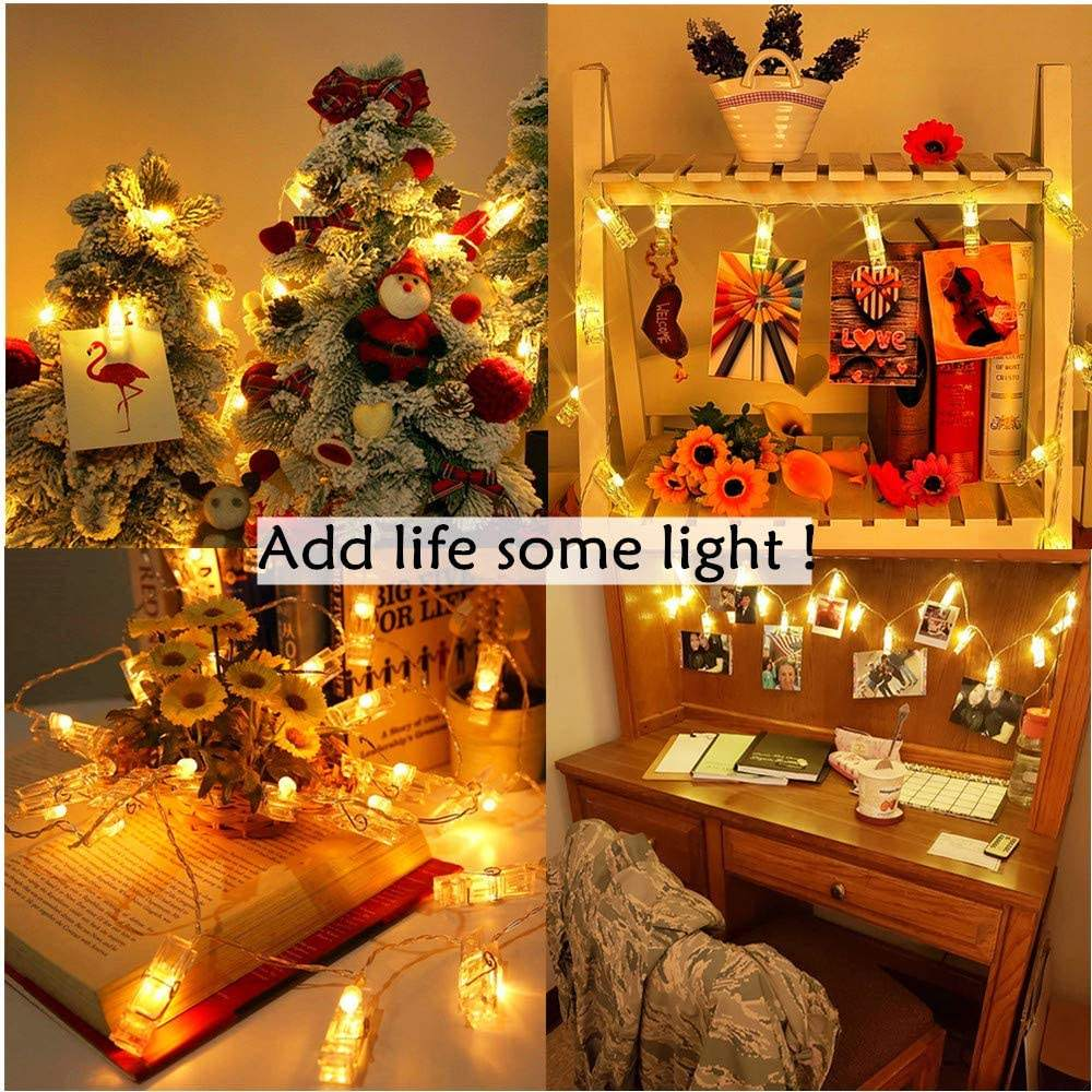 LED Photo Clip String Lights 40 Photo Clips Battery Powered Fairy Twinkle Lights Wedding Party Home Christmas Decorations