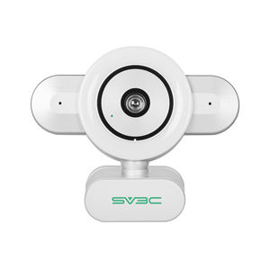 SV3C Streaming Webcam with Ring Light and Dual Microphone 4MP FHD Webcam USB Adjustable Brightness Web Camera for Skype Zoom OBS