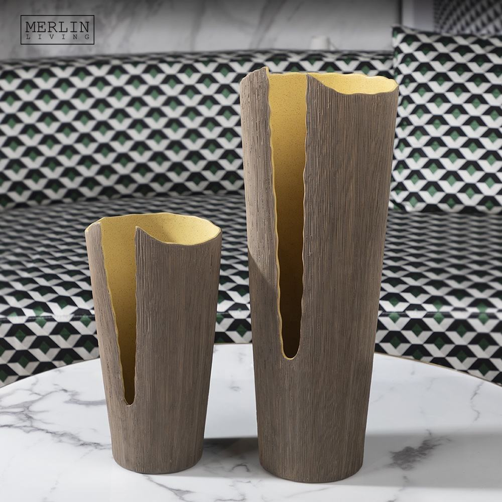 Modern nordic style ceramic tall vase design brown scandinavian Textured vase for living room accessories unique vase home decor
