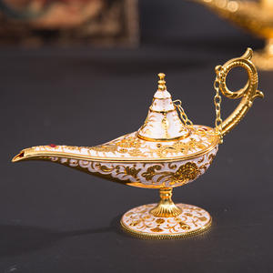 Mid-east incense burner metal hollow carving marble mabkhara arabic alloy Brass Alladdin Genie lamp for Incense oil burner
