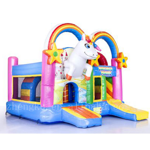Atractice inflatable unicorn bouncer castle,rainbow jumping bouncy castle for kids
