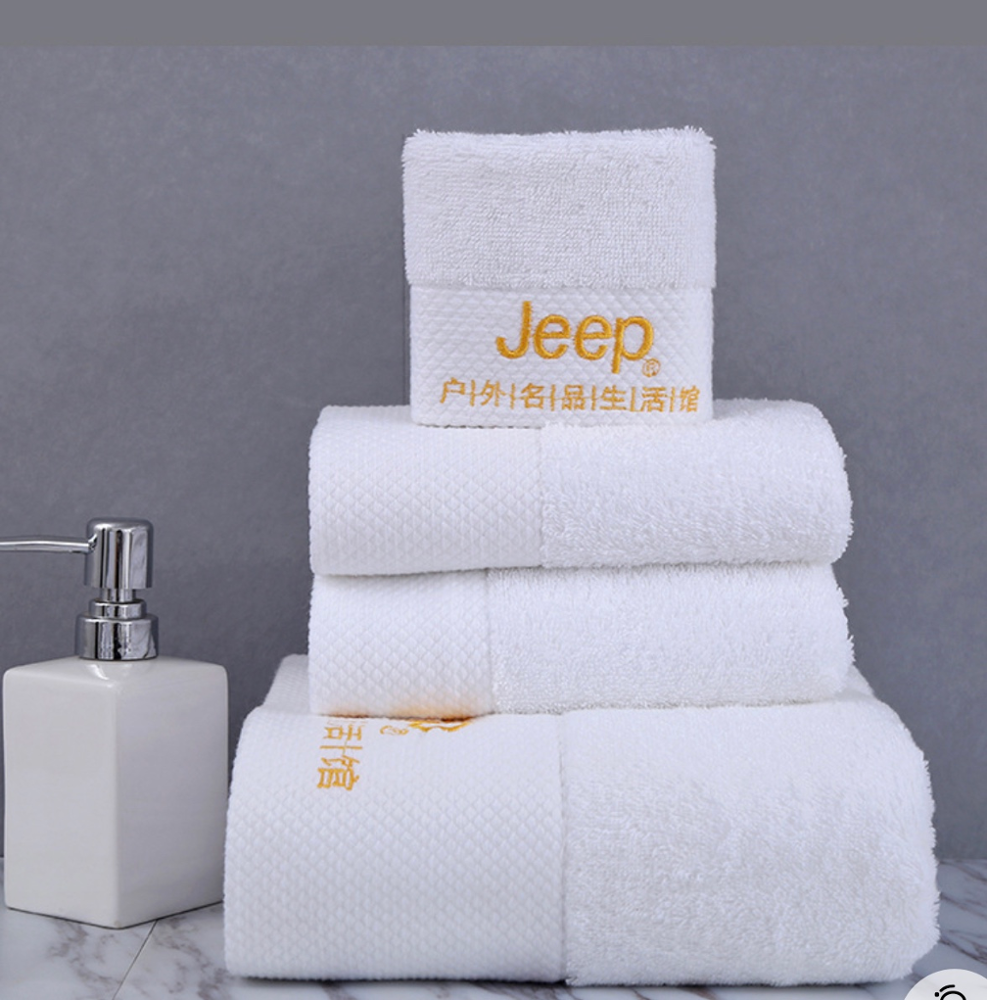 100% Cotton Soft Towel/ White Customized Logo Wholesale Hotel Bath Towels