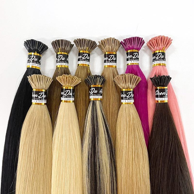 Wholesale Remy Brazilian i-Tip Human Hair Unprocessed Virgin Raw Indian Stick I Tip Hair Extension