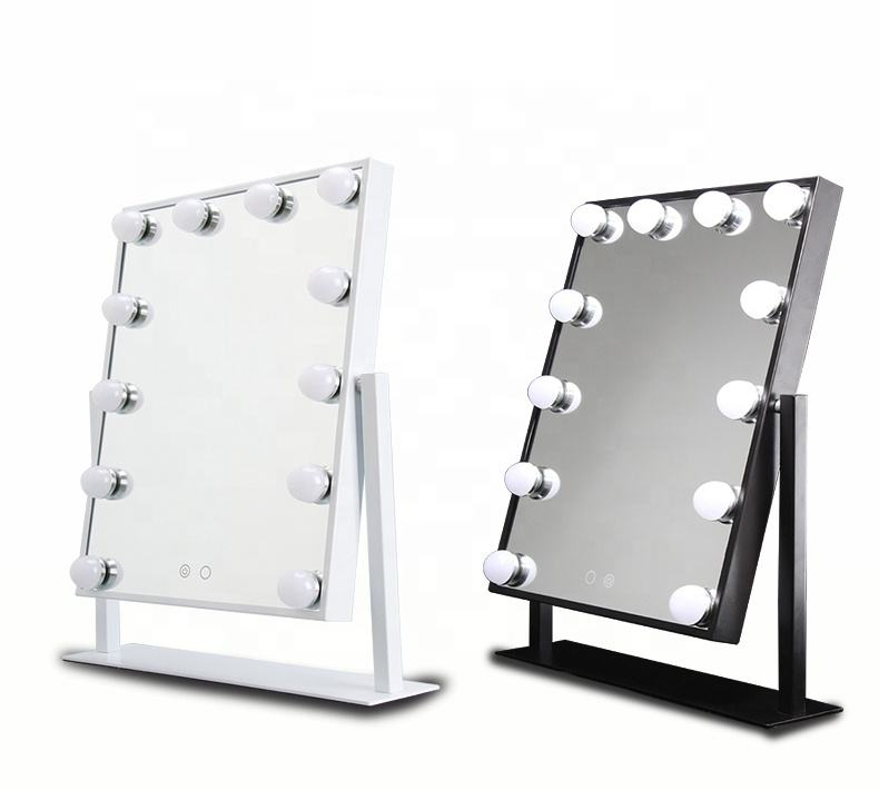 Verstellbare Vanity Tabletop <span class=keywords><strong>Lampe</strong></span> 12 LEDs Touchscreen Friseurs piegel zum Verkauf Luminous 180 Rotating Mirror