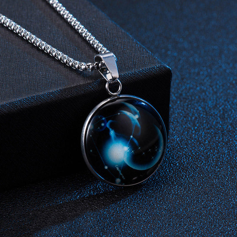 New Design Stainless Steel Glow in The Dark Glass Cabochon 12 Zodiac Sign Galaxy Pendant Necklace