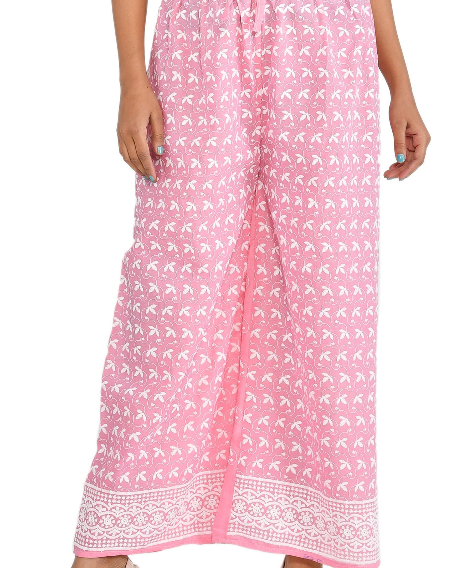 Latest Indian Traditional Chicken Embroidery Cotton Ethnic Party Wear Women Long Trousers High Waist Palazzo Pant Wholesale