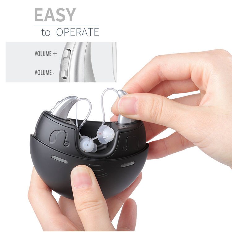 New Product 2019 Portable Sonic Sound Amplifier Rechargeable Digital Hearing Aid With Charging Box
