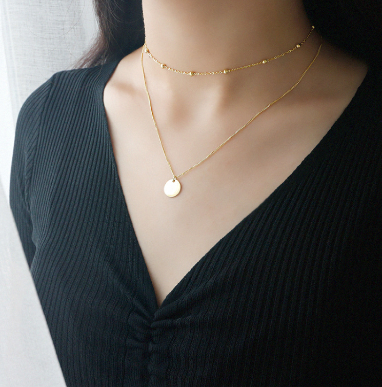 simple mirror plain coin pendant necklace gold double multilayer ball chain necklace women female minimalist