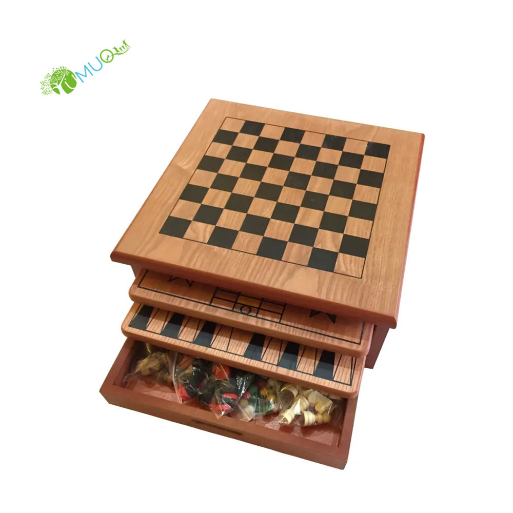 "YumuQ Outdoor 10 IN 1 15"" Wooden Chess Board Games Set for Kids and Adult"