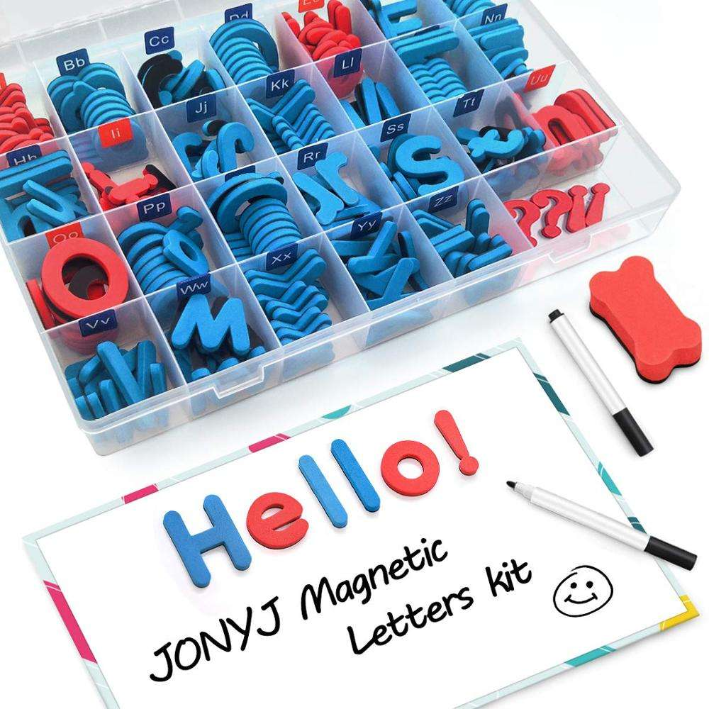 Foam Magnetic Letters, Magnetic Alphabet Letters Board with Storage Box, 208 Pcs ABC Uppercase Lowercase Alphabet Magnets