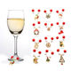 Wine Glass Marker Christmas Red And White Acrylic Beads,Zinc Alloy Pendants -1 set