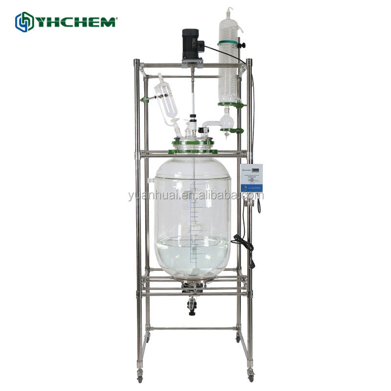 Chemical industry 200L packed bed reactor with double glass wall