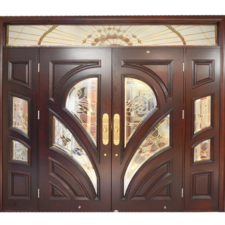 HS-YH8112 latest main gate designs for house mahogany main teak wood double door design wooden front door beautiful iron gate
