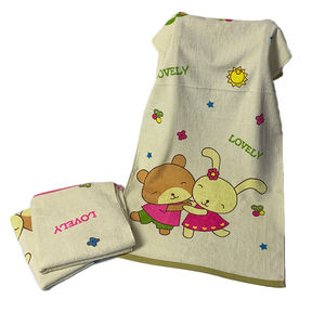 Jacquard Cartoon Design Super Soft Absorbent 100% Cotton Baby Bath Towel