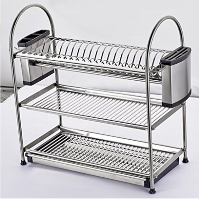 High quality Stainless Steel Dish Rack / Dish Drain Rack / Dryer Drainer Tray Plate Cup Storage