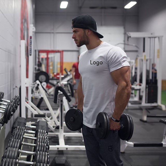 Mens clothing 95 cotton 5 spandex slim muscle fit fitness Sports gym t shirt
