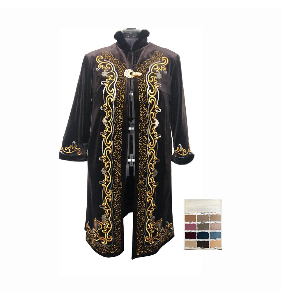 Velor Fabric Clothes Kazakhstan Female Beshmet With Gold Ornaments