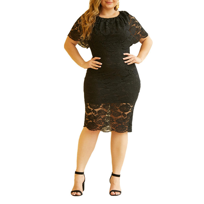 Women Casual Short Sleeve Elegant Fashion Wholesale O-Neck Knee-Length Plus Size Lace Dress