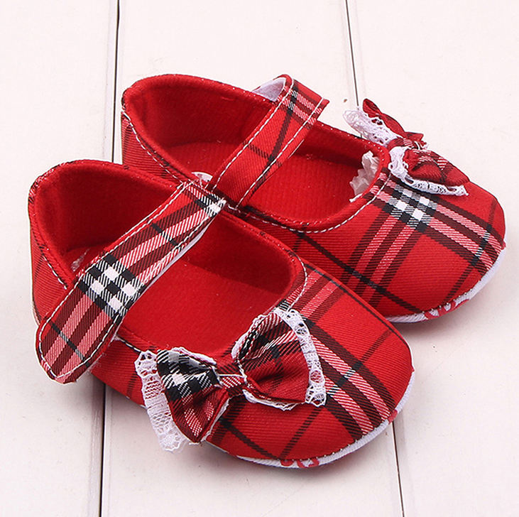 Hot Selling Lovely New Born Baby Girls Dress Plaid Footwear Party and Casual Wear Shoes