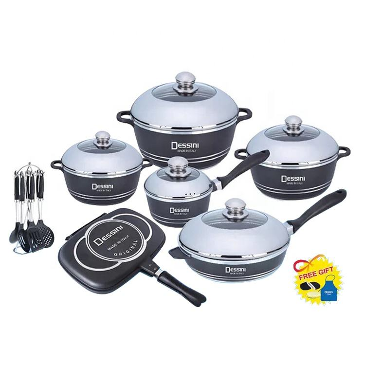 China Fabriek 23Pcs Aluminium Non Stick Royal Keuken Kookgerei Hot Pot Set Decoratieve Dessini Inductie Soep Koken Pot Set