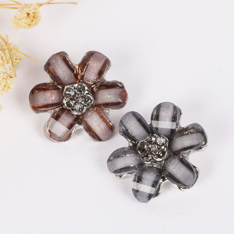 Gray Purple Glass Flower Shape Buttons For Shoe Decorations, Small Crystal Rhinestone Button, Buttons For Clothes