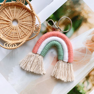 Tassel White Macrame Key Chain for Women Handmade key Holder Rainbow Keyring Bag Accessories