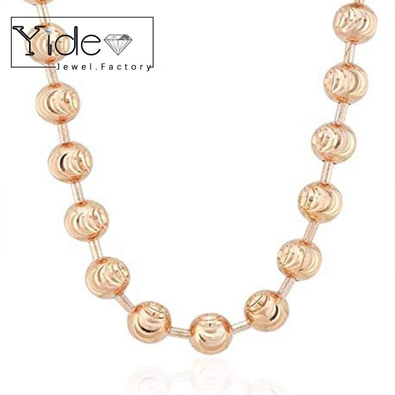 Ball chain wholesale fashion jewellery rose gold moon cut chain