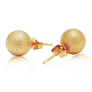 Fashion Minimalism geometric Stud Earrings Hot Sale Matte Gold/Silver Plating Stainless Steel Frosted Ball Earrings For Women
