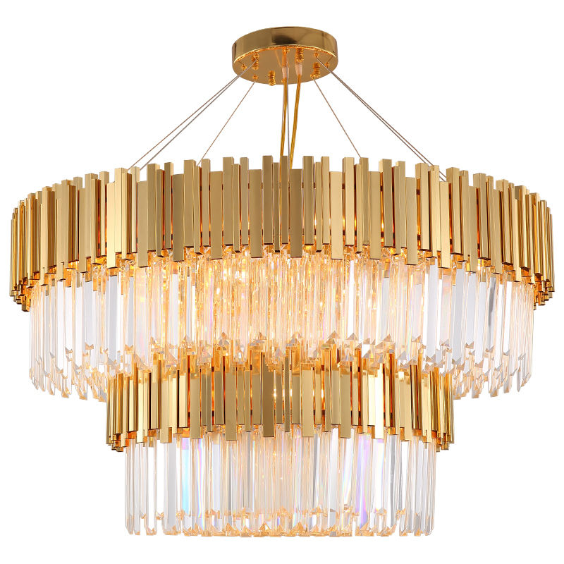 Manufacturer european modern hotel gold round big crystal iron luxury ceiling LED chandelier