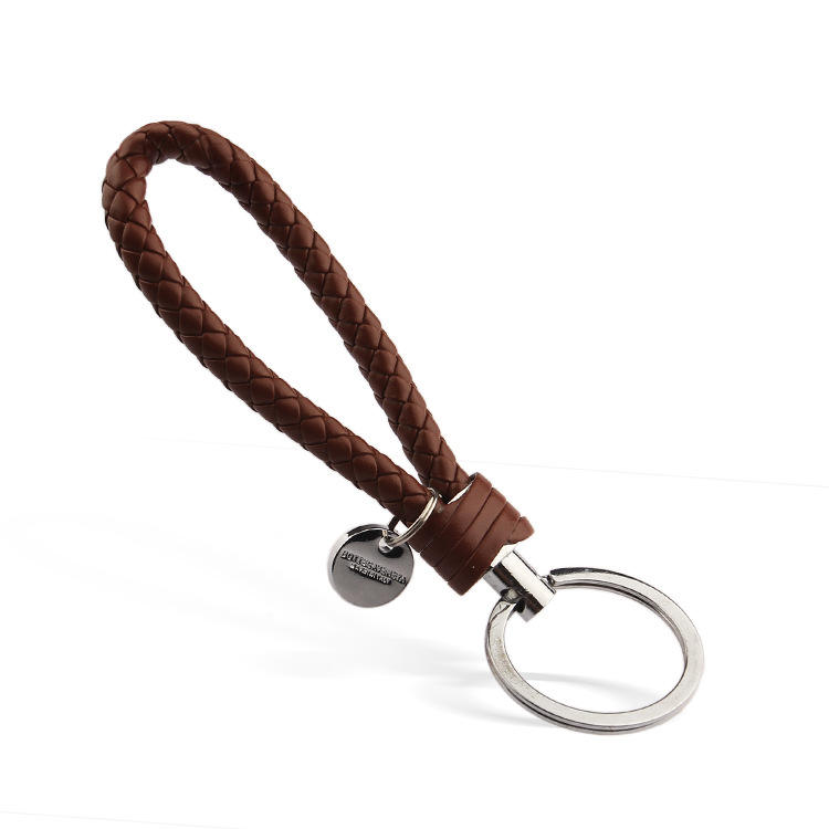 Wholesale Handmade Gift Giveaway Braided Rope Preparation Car Leather Rope Woven Leather Rope Keychain