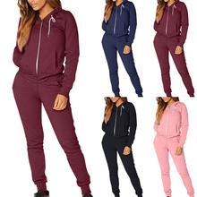 2020 Zipper Jogging Sportswear womens plain Winter hooded tracksuit clothes custom