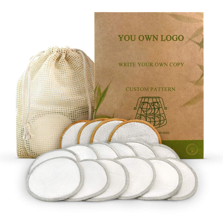Private Label Facial Cleansing Tool Skin Care Reusable Makeup Remover Cloth Washable Organic Bamboo Cotton Makeup Remover Pad