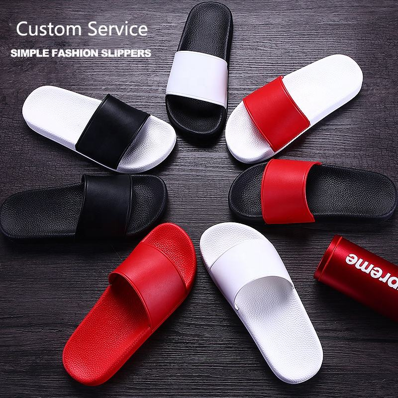 Custom Printing Logo Pattern Black Plain Men's EVA PVC Sandals Slides Slippers