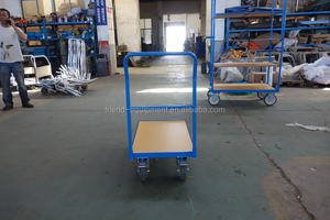 500kg Platform Hand Trolley Wooden Hand Platform Trolley Push Pull Trolley with good price