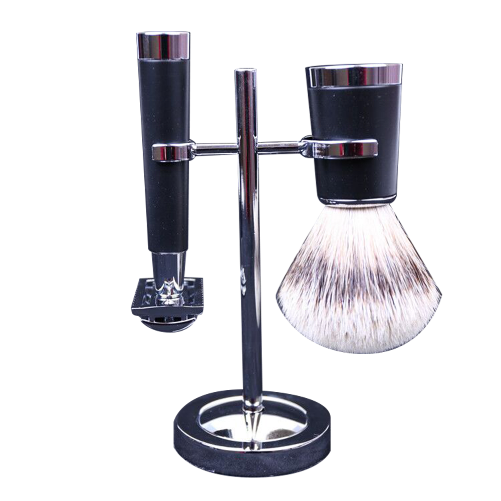 Men Shaving Set Yaqi Black And Chrome Shaving Brush Set Men Classic Traditional Shaving Kit