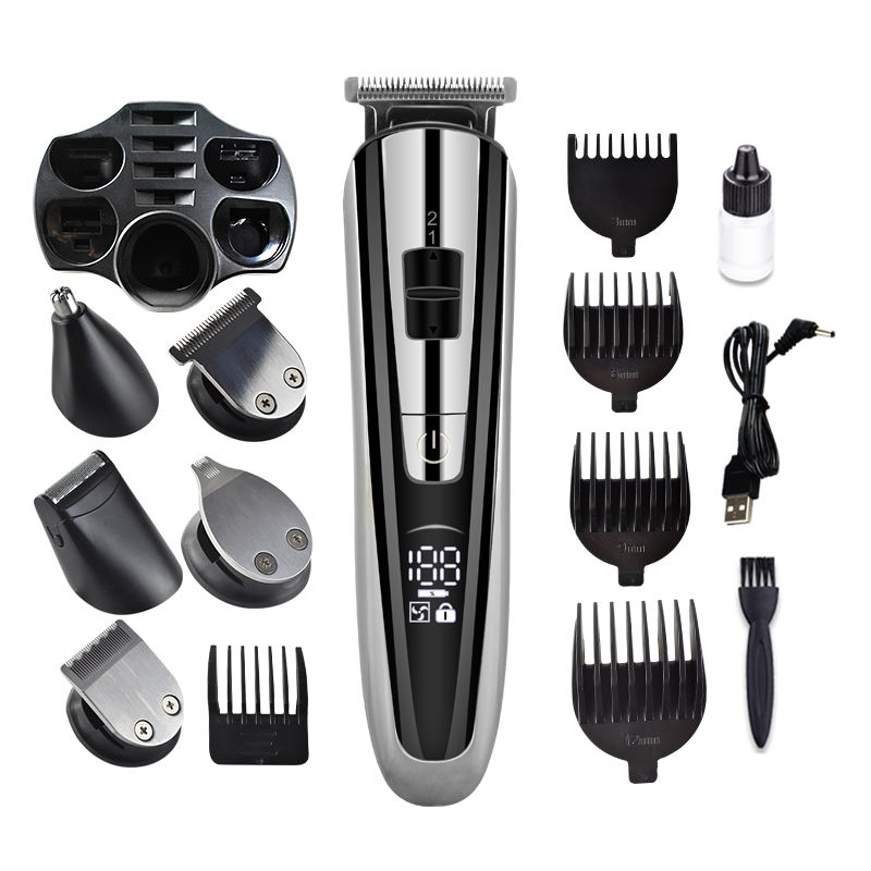 New design electric cordless men hair trimmer 5 in 1 shaver LCD display professional hair clipper