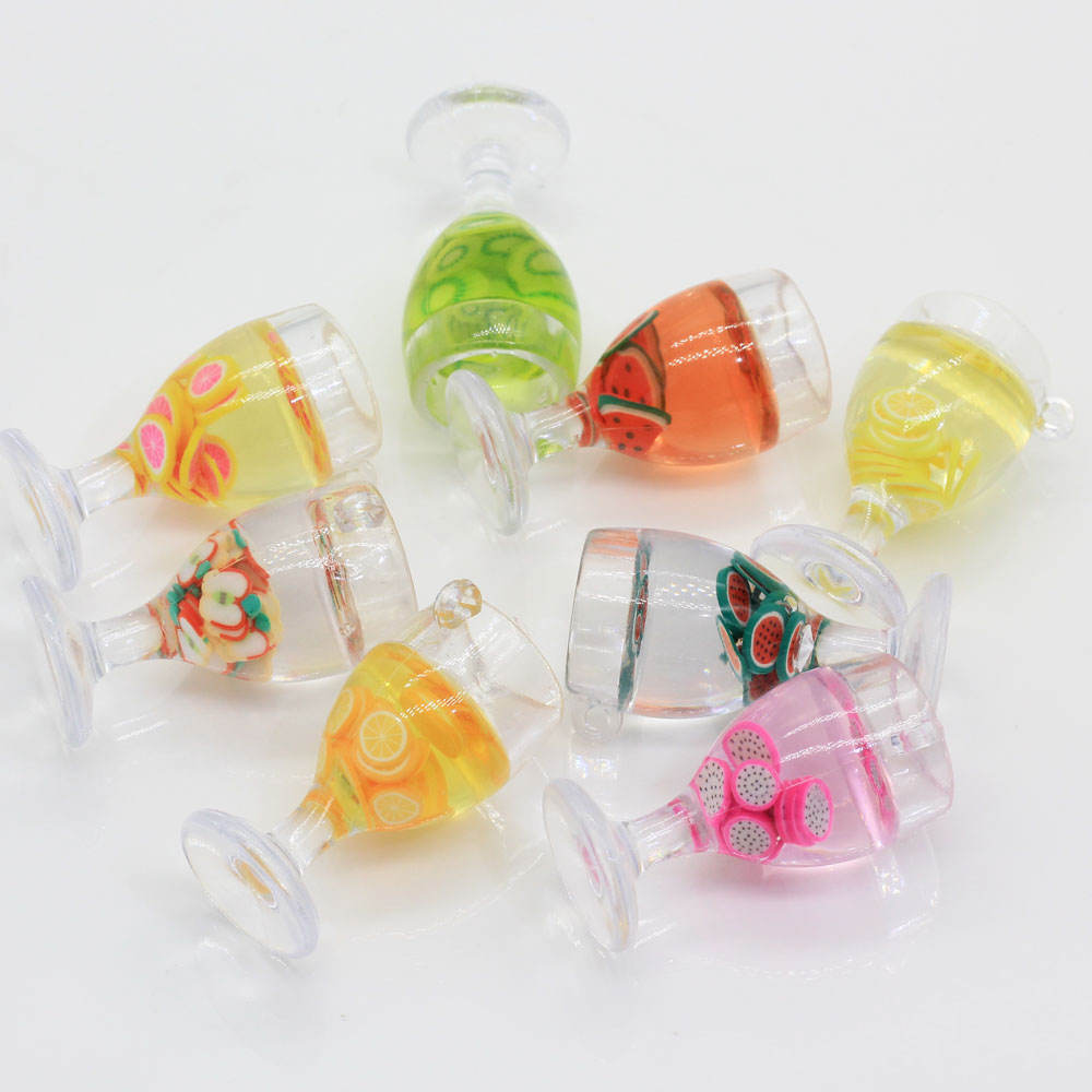 Wholesale Resin 3D Fruit Drink Glass Bottle Bead Assorted Shapes 100Pcs Newest Design Charms For Craft Desk Home Decor