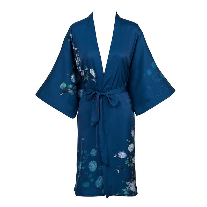 Women Sleepwear 2020 New Design Dark Blue Elegant Nighty Fashionable Women Dressing Robes for Ladies