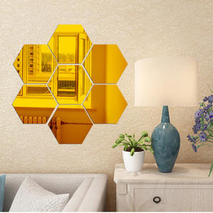 Acrylic three-dimensional geometric hexagon mirror 3D wall stickers DIY home decoration stickers