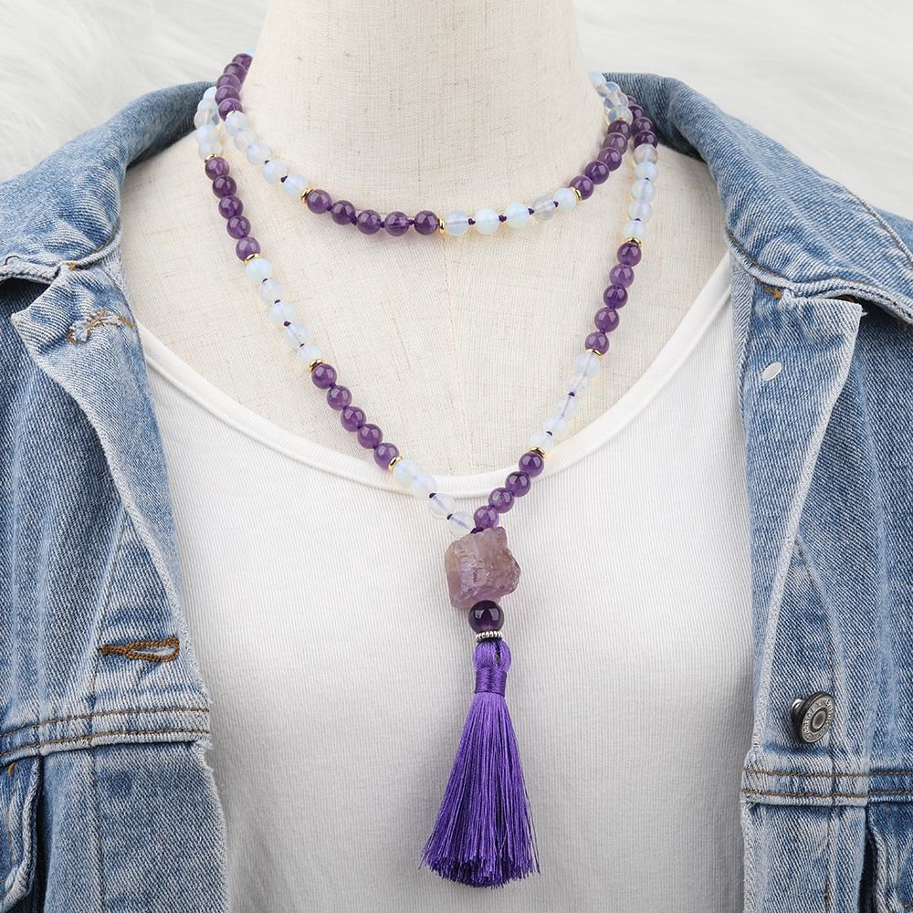Natural Amethyst Chunky Stone 108 Prayer Beads Amethyst Opal Stone Crystal Beads Knot Tassel Necklace Jewelry