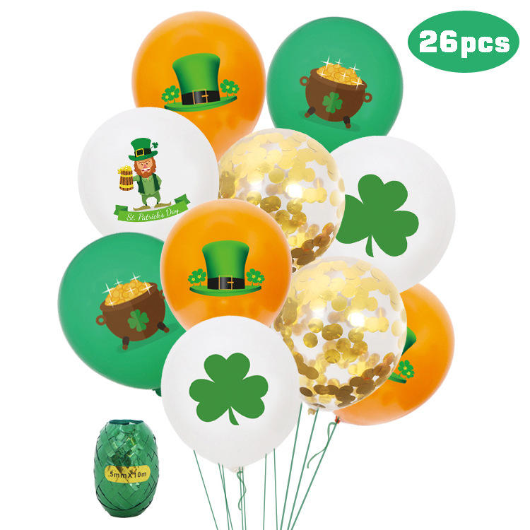 <span class=keywords><strong>Thema</strong></span> Party Dekoration Latex Ballons 12 zoll Logo Gedruckt Gold Konfetti St. patricks Tag Ballons Bouquet
