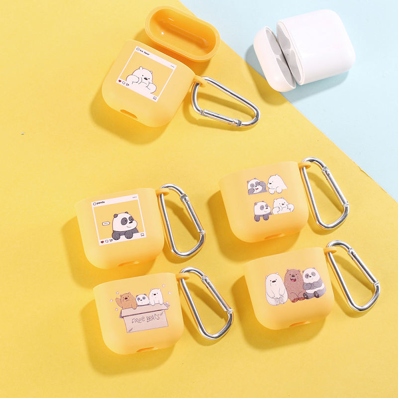 Cartoon Bear Panda Cute Earphone Case For Apple iPhone Charging Box For AirPods Pro Soft Candy Color Carabiner Cover Accessories