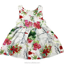 Floral Boutique 100% cotton kids summer dresses Sleeveless dress baby girl forcks