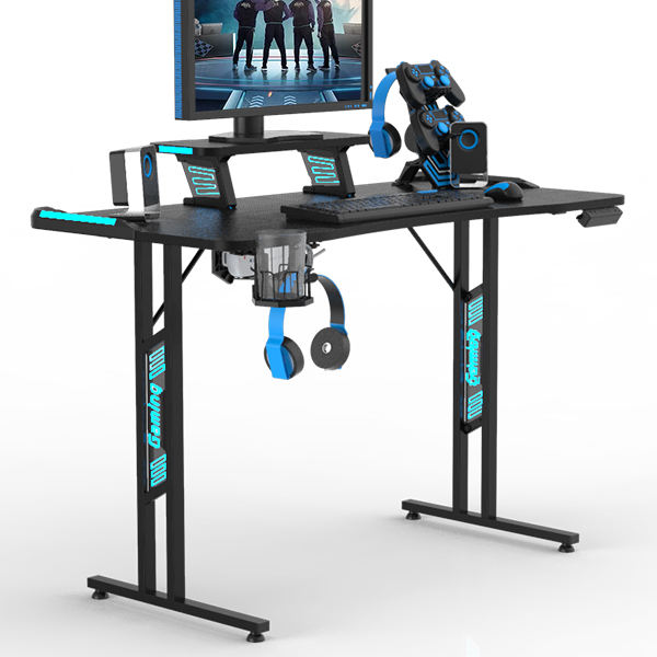 "47.3"" Gaming Desk Computer Table With Monitor riser, I-Shaped Professional Gaming Table Station With Cup Holder & Headphone Hook"