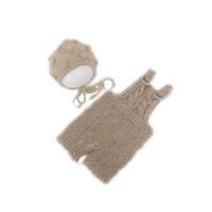 Newborn Romper Bonnet Set Photography Props Baby Knit Mohair Hat prop Newborn Crochet Outfit For Photo Shoot
