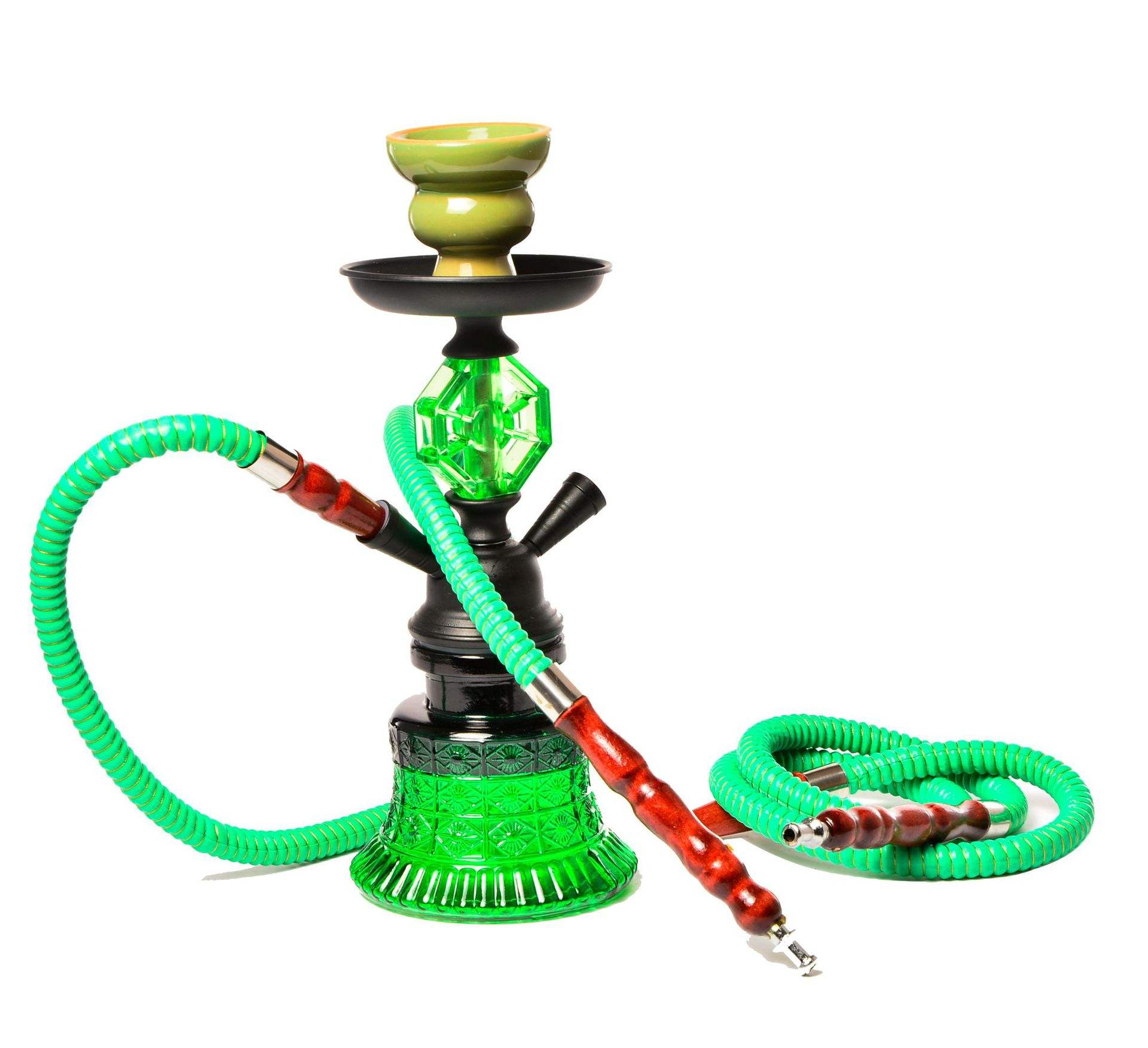 double hose acrylic hookah with hookah tips for Abric shisha style color bowl with light and accessories
